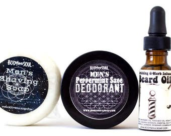 Men's Shaving Soap, Deodorant, and Beard Oil Grooming Set