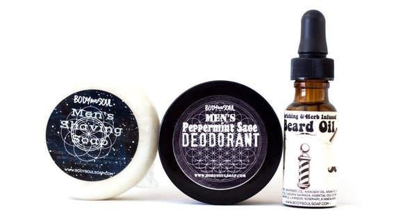 Men's Shaving Soap, Deodorant, and Beard Oil Grooming Set