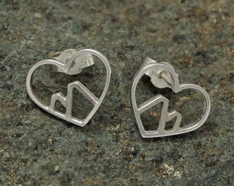 Love the Mountains, Sterling silver Earrings . Mountain Jewelry, Nature Jewelry, Adventure Jewelry, Hiking Jewelry,snowboarding jewelry