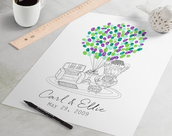Wedding Guest Book: Up Chairs fingerprint guest book for wedding similar to fingerprint tree. thumbprint tree, Disney guest book alternative