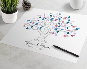 Wedding Guest Book - Noble Oak Custom Wedding Guestbook, guest book alternative, fingerprint tree, thumbprint tree, wedding sign-in