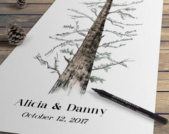Wedding Guest Book - Eternal Redwood Guestbook Alternative, Signature Tree, Pine Tree, Fingerprint Tree, wedding sign-in wedding guestbook