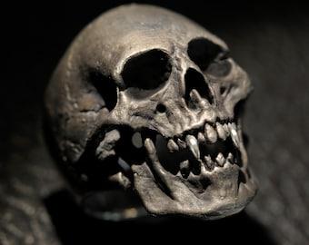 Vampire Skull Ring,Large Size, Mens Silver Skull Ring, Dracula, Silver Skull Ring,Etsy,Dead Rings.925