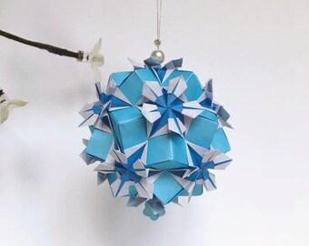 Blue Flower Kusudama, Origami Flower Ball, Paper Decor, Blue Paper Flower, Origami Ornament, Flower Decor, Blue Decor, Origami Gift