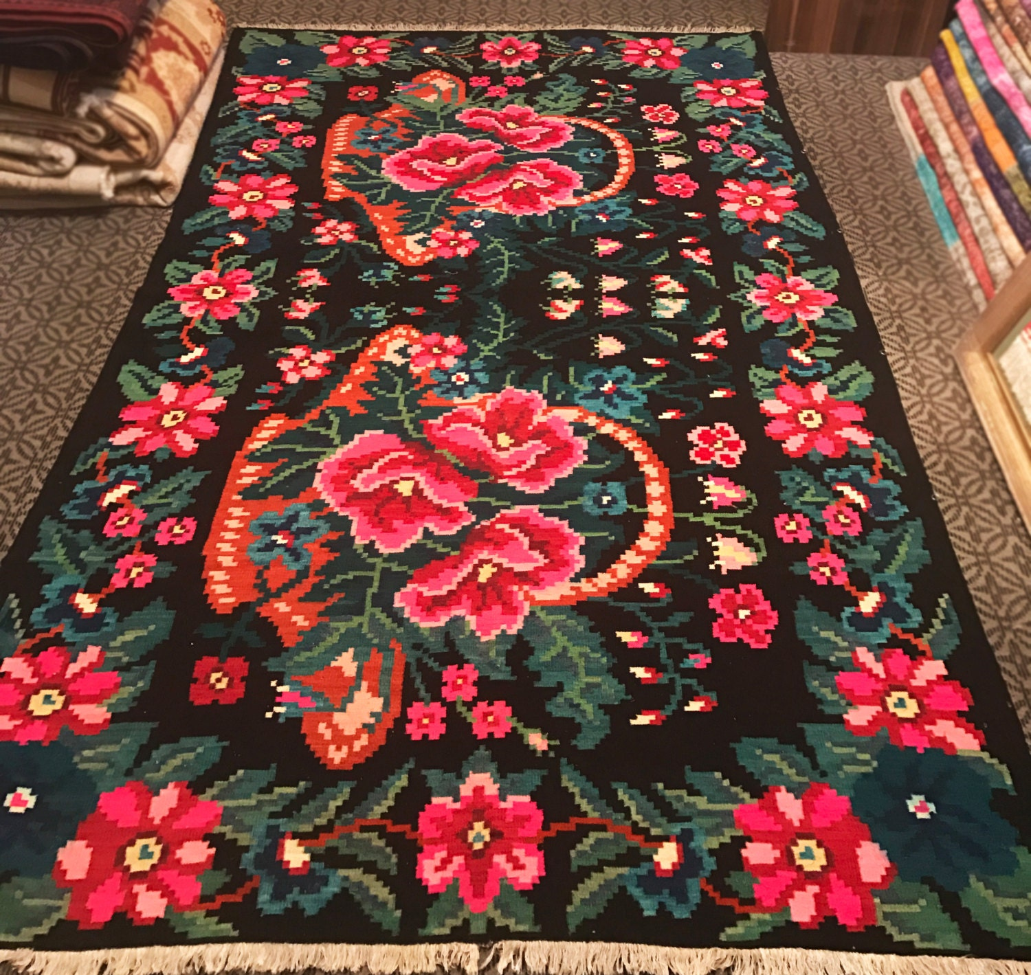 Handmade KARABAG Kilim Rug Decorative Area Kilim Carpet