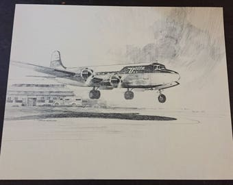 Delta Airlines; Vintage Plane Sketch; Delta Airlines 50th Anniversary Airplane Print; DC-4; Airline Anniversary Gift
