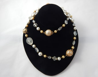 Vintage Beaded Necklace Crystal and Gold