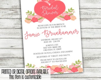 Valentine's Bridal Shower Brunch Invitation