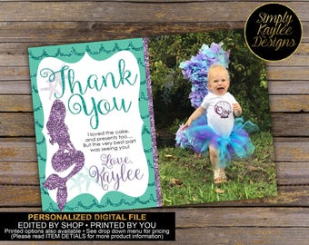 Mermaid Birthday Thank You Card