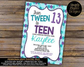 Tween to Teen Birthday Party Invitation