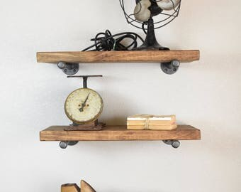 "Set of 3- Industrial 12"" Deep Floating Shelves includes pipe brackets, Rustic Farmhouse, Kitchen, Bath, Study wood wall shelf"