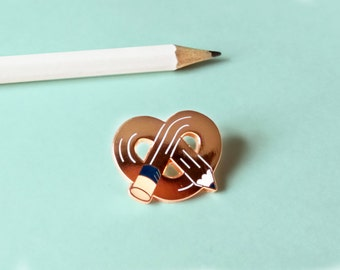 rose gold PRETZEL PENCIL hard enamel pin badge | Lapel pin | super shiny | arts and crafts | Stocking Fillers | copper | gift for women