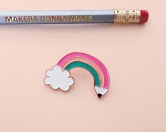 RAINBOW PENCIL soft enamel pin | copper/rose gold  | Lapel pin | pencilrainbow