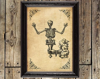 Memento Mori, Skeleton, Death, Gothic, Dark, Occult, Medieval, Gothic poster, Occult print, Magic poster, Witchcraft, Skeleton poster, #0035