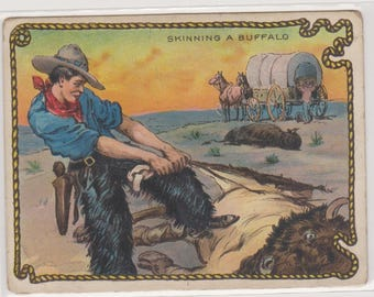 1909 T53 Hassan Cowboy Series Trading Card No. 46, Skinning A Buffalo, Antique Trade Card