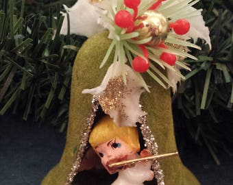 Vintage Green Flocked Christmas Ornament, Angel in Bell Diorama, Mid Century Modern Christmas, Kitsch