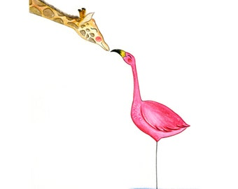 Illustration Giraffe & Flamingo (various sizes)