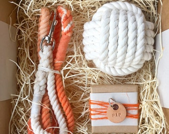 Dog Hamper - Handmade Rope Dog Gift- with free leather dog name tag