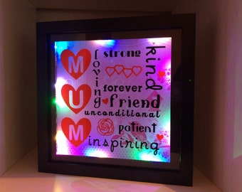 Mothers day light up frame, mum light up frame