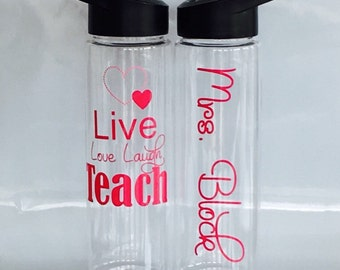 Teacher Gift, Personalized Teacher Water Bottle, End Of The Year Teacher Gift, Teacher Appreciation,