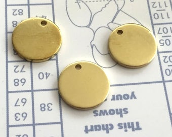 14 mm 15 Gauge (1.5mm) thickness 10 pcs stamping Round blank,tag,disc,findigs,sealing,pressing Raw Brass
