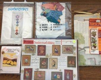 Vintage 70's needlecraft kits Chakra, Zodiac, harvest gold weaving,