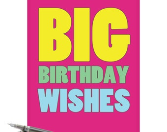 J2720BDG Jumbo Funny Birthday Card: Big Birthday Wishes With Envelope (Extra Large Version 8.5'' x 11'')