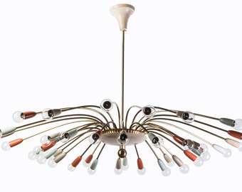 Mid century Real giant 1950's 36 Sputnik architectural chandelier