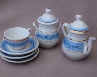 French Antique Old Paris Porcelain Doll's Tea Set - White & Blue Paris Porcelain Dinette - Miniature Coffee Pot Sugar Pot Tea Cup and Saucer