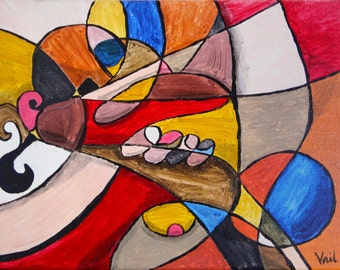 penis painting, cubist style