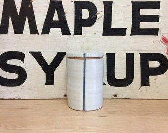 Tall White Canister with a Blue Stripe | Modern and Graphic Jar with Lid