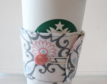 Environmentally Friendly, Reusable Fabric Insulated Coffee Sleeve - Blue/Pink Geometric Floral Flannel