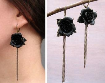 Black rose jewelry Black earrings Flower dangle earrings Gold drop earrings Chain earrings Dark jewelry luxury jewelry art deco earrings