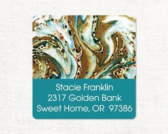 personalized return address label - vintage marble paper STACIE TEAL - square label - address sticker - set of 48