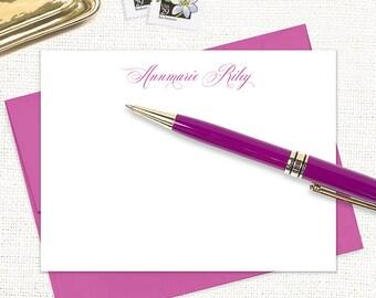 personalized note card set - EXQUISITE TYPE - set of 12 flat cards - custom stationary - feminine stationery - couples stationary gift set