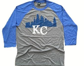 Kc Skyline shirt. Kansas City Baseball tee.Royals shirt.Kansas City shirt.KC Skyline.World champions shirt.KC Raglan shirt