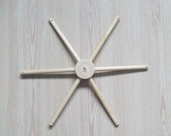 Wooden mobile hanger 6 arm hanger, Mobile hanger, Mobile hanger kit, for hanging decor, Natural wooden Crib Mobile hanger, Baby mobile frame