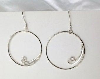 Large Silver Hoop Earrings with Swirls