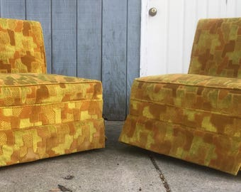 Mid Century Puzzle Piece Upholstered Slipper Chairs