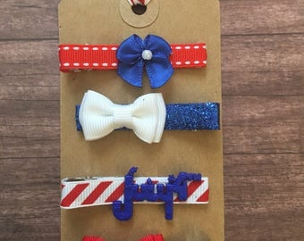 Infant Toddler July 4th Alligator Hair Clips