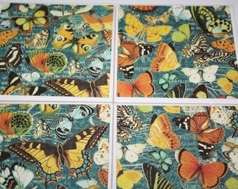 Butterfly print/ceramic tile/drink coasters/butterfly decor/butterfly art/butterfly gift/housewarming gift/summer decor/tile coasters