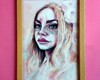 Lana Del Rey - Portrait Limited Art Print Size A4 (210mm × 297mm) Honeymoon Ultraviolence Born To Die Lizzy Grant Watercolor