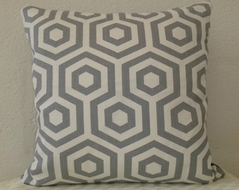 Geometric, Hexagonal design cushion in crisp grey and white cotton.