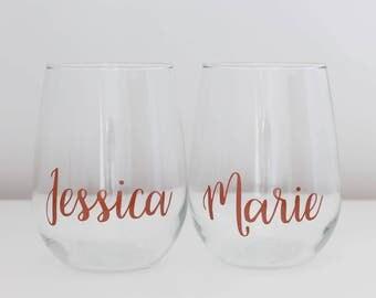 2x Personalised stemless wine glass, Wedding glasses, wedding favours, wedding decor, wedding gift, toasting glasses, stemless wine glasses