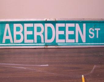 Aberdeen St. sign, vintage road sign
