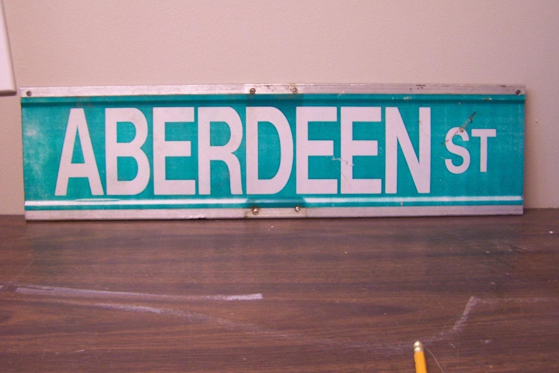 aberdeen st sign vintage road sign