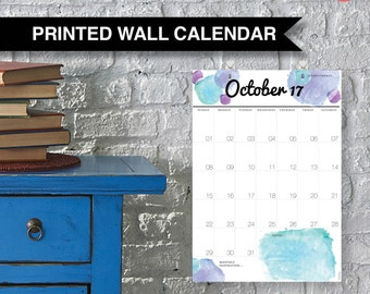 Wall Family Calendar 2017. Large A3 yearly wall planner, 18 months from July 17 to Dec 18 with free hooks. Sunday start. Hanging Calendar.