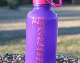 Pink/purple 20 oz BPA free water bottle with glitter vinyl name