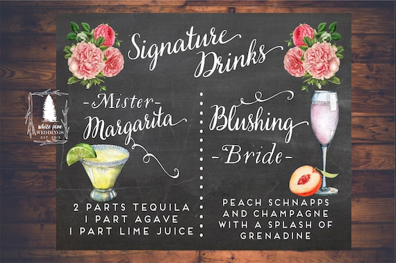 Wedding signature drinks sign printable drink sign wedding like this item junglespirit