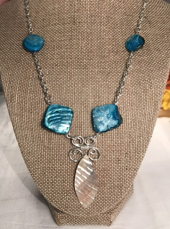 Turquoise shell bead and Bone color bead necklace, silver filled wire